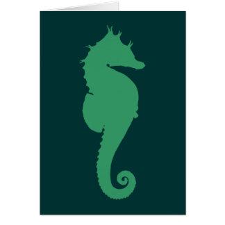 Silueta verde del Seahorse Tarjeta De Felicitación