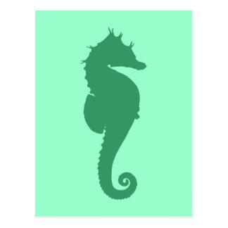 Silueta verde del Seahorse Tarjetas Postales
