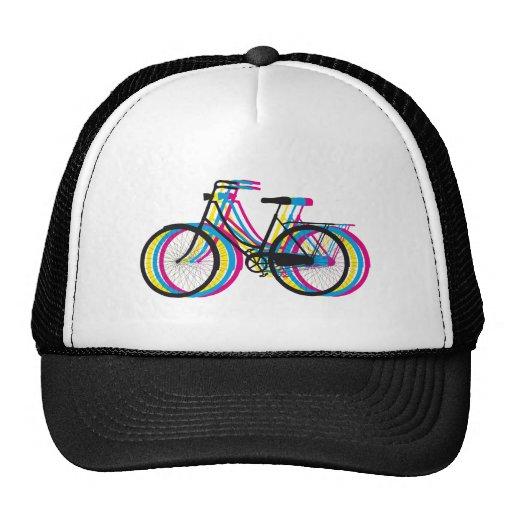 Silueta vieja colorida de la bicicleta, diseño de  gorras