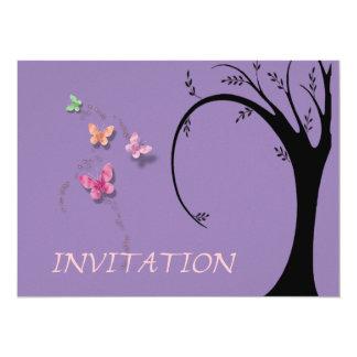 """Silueta y mariposas del árbol invitación 5.5"""" x 7.5"""""""