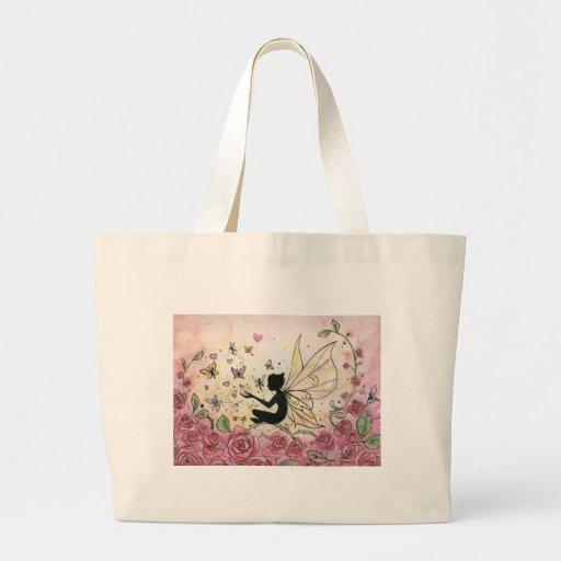 Silueta y rosas bolsa tela grande