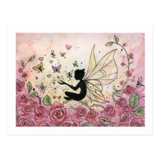 Silueta y rosas tarjeta postal