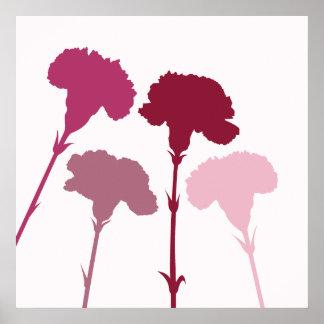 Siluetas abstractas del clavel - rojos y rosas impresiones