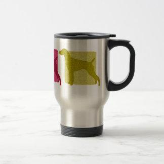 Siluetas alemanas coloridas del indicador de pelo taza de café