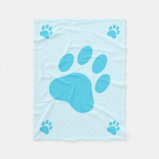 Siluetas azules de la pata del perro