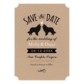 """Siluetas belgas del perro pastor que casan reserva invitación 5"""" x 7"""""""