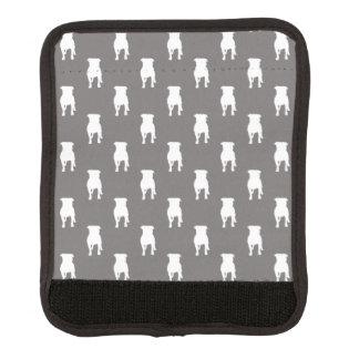 Siluetas blancas del barro amasado en fondo gris funda para asa de maleta