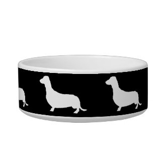 Siluetas blancas del Dachshund en negro Comedero Para Mascota