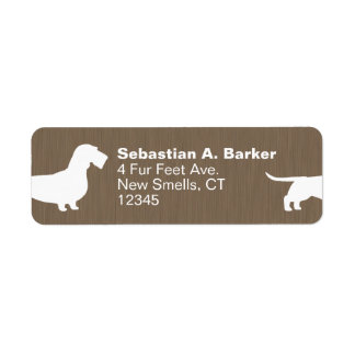 Siluetas cabelludas del perro del Dachshund del Etiqueta De Remite