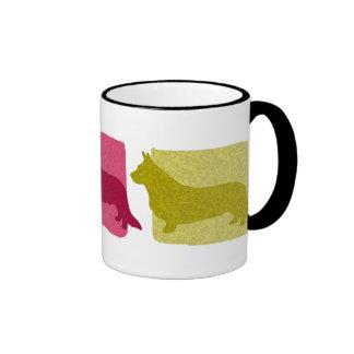 Siluetas coloridas del Corgi Galés de la rebeca Taza De Café