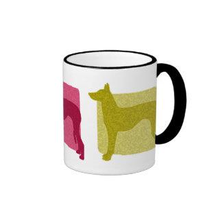 Siluetas coloridas del perro de Ibizan Tazas