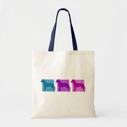 Siluetas coloridas del perro perdiguero de bahía d bolsa tela barata