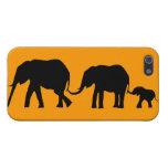 Siluetas de 3 elefantes que sostienen las colas iPhone 5 funda