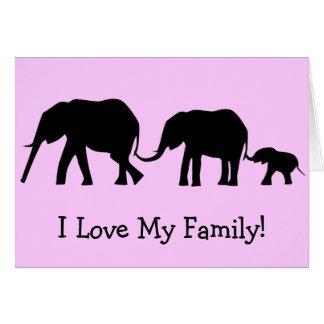 Siluetas de 3 elefantes que sostienen las colas tarjeton