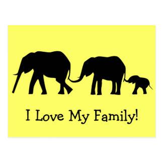 Siluetas de 3 elefantes que sostienen las colas tarjetas postales