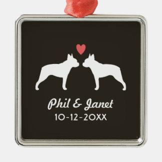 Siluetas de Boston Terrier con el corazón y el Adorno Cuadrado Plateado