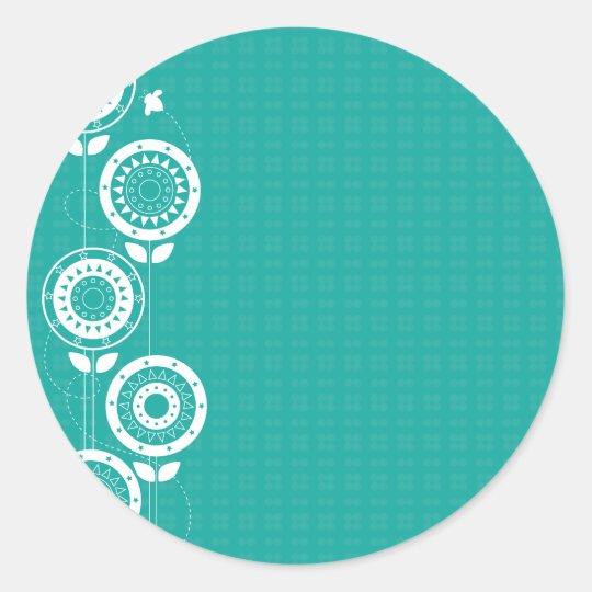 Siluetas de la flor pegatina redonda