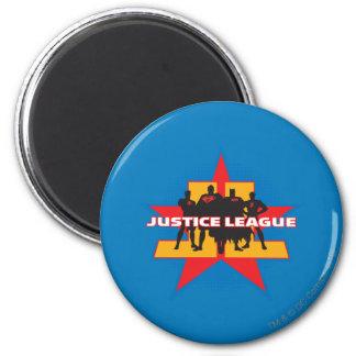 Siluetas de la liga de justicia y fondo de la estr imán de frigorifico