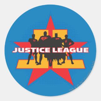 Siluetas de la liga de justicia y fondo de la estr etiqueta redonda