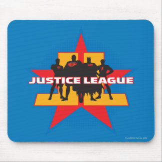 Siluetas de la liga de justicia y fondo de la estr tapete de ratones