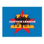 Siluetas de la liga de justicia y fondo de la estr postales