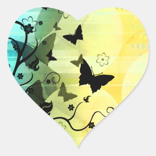 Siluetas de la mariposa pegatina en forma de corazón