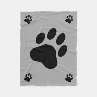 Siluetas de la pata del perro negro manta de forro polar