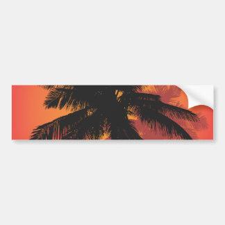 Siluetas de la puesta del sol de las palmeras pegatina de parachoque