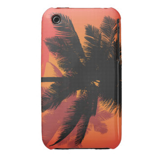 Siluetas de la puesta del sol de las palmeras carcasa para iPhone 3