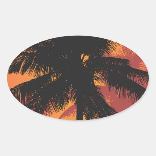 Siluetas de la puesta del sol de las palmeras etiqueta