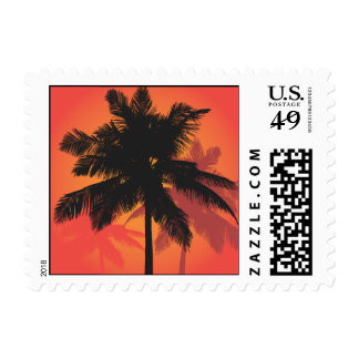 Siluetas de la puesta del sol de las palmeras franqueo