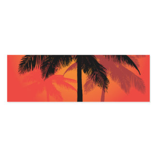Siluetas de la puesta del sol de las palmeras tarjetas de negocios