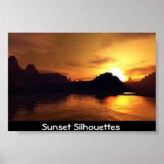 Siluetas de la puesta del sol impresiones