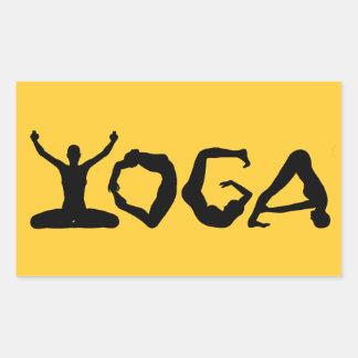 Siluetas de la yoga pegatina rectangular