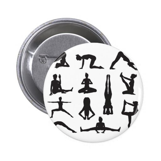 Siluetas de las actitudes de la yoga o de los pila pins