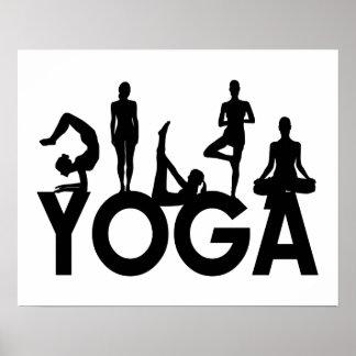 Siluetas de las mujeres de la yoga póster