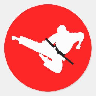 siluetas de los artes marciales etiquetas redondas