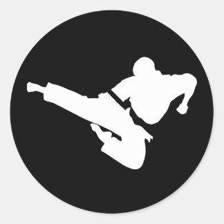 siluetas de los artes marciales pegatina redonda