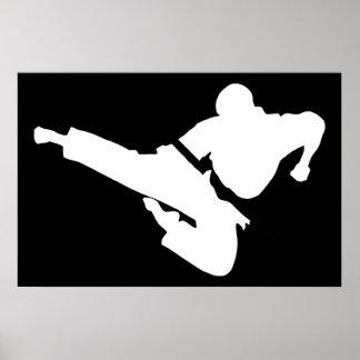 siluetas de los artes marciales póster