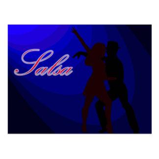 Siluetas de los bailarines de la salsa con el tarjetas postales