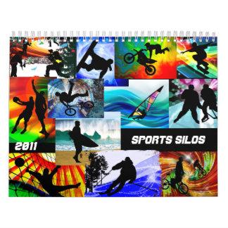 Siluetas de los deportes calendario de pared
