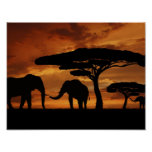Siluetas de los elefantes africanos en puesta del póster