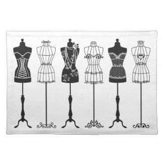 Siluetas de los maniquíes de la moda del vintage mantel individual