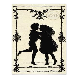 """Siluetas de los niños del Victorian que casan RSVP Invitación 4.25"""" X 5.5"""""""