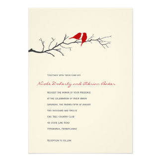 Siluetas de los pájaros que casan la invitación -