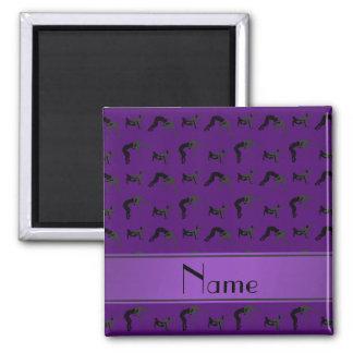 Siluetas de lucha púrpuras conocidas imán cuadrado