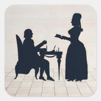 Siluetas de Monsieur y de señora Roland Pegatina Cuadrada