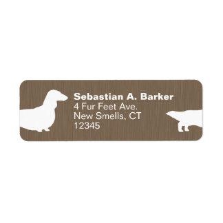 Siluetas de pelo largo del perro del Dachshund Etiqueta De Remite