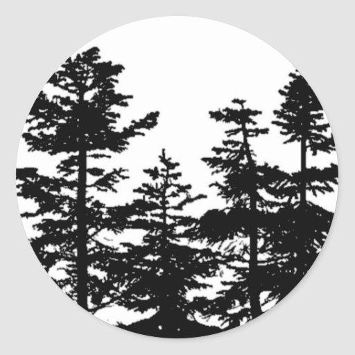Siluetas del árbol pegatina redonda