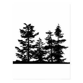 Siluetas del árbol tarjetas postales
